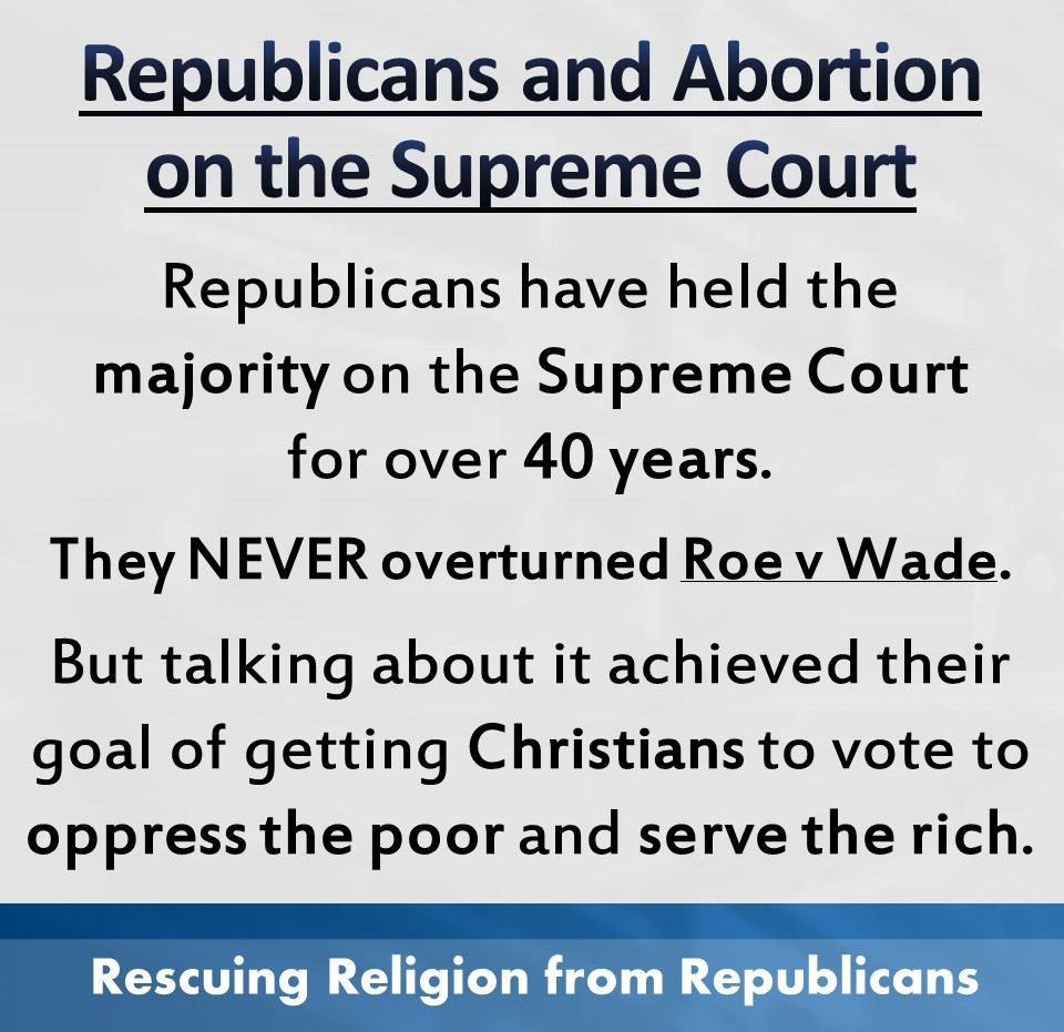 Abortion - Supreme coiurt majority NEVER overturned