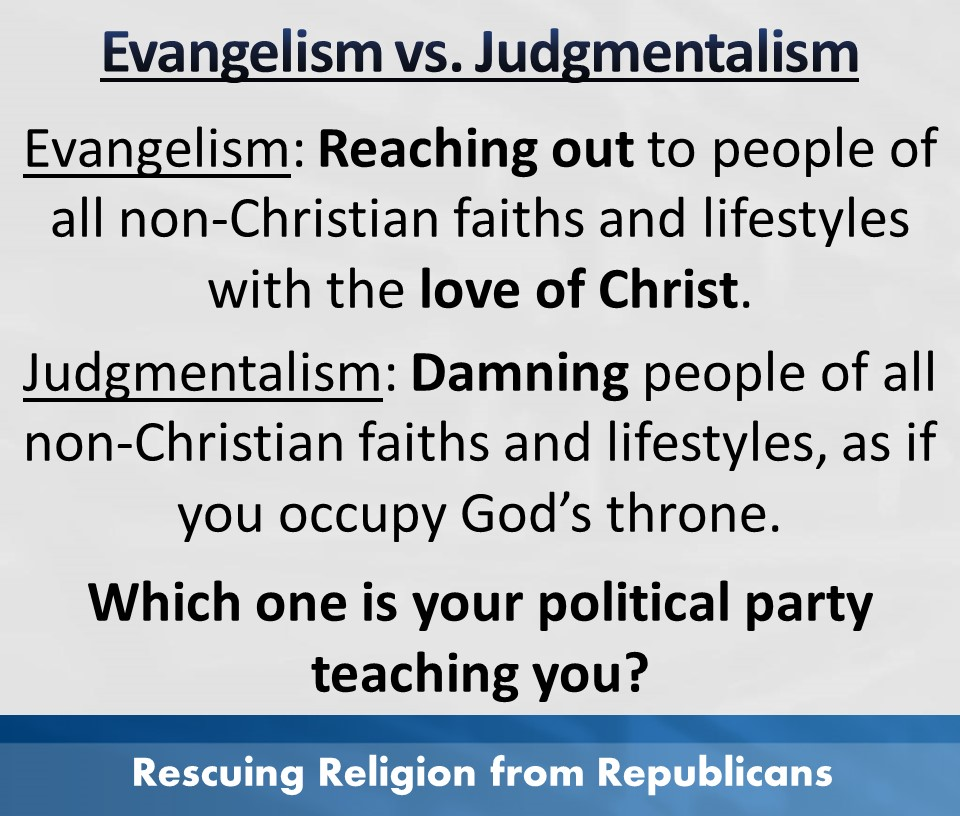 Evangelism vs judgmentalism