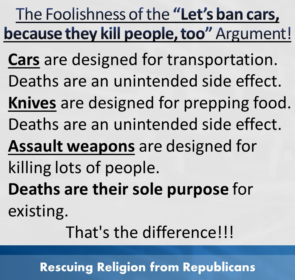 Guns - cars knives sole purpose