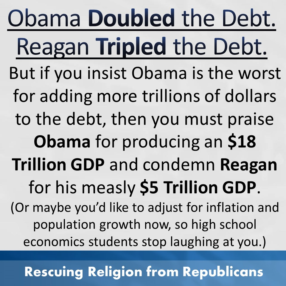 Reagan vs Obama - Debt and GDP