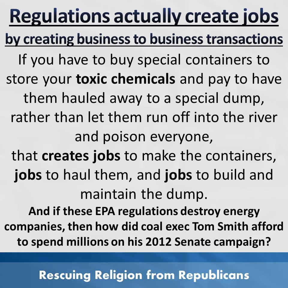 Regulations actually create jobs