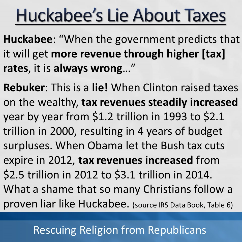 Taxes - Huck's Lie - Tax rates cause lower revenues