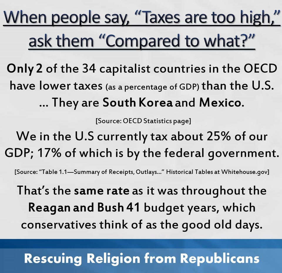 Taxes are too high...compared to what