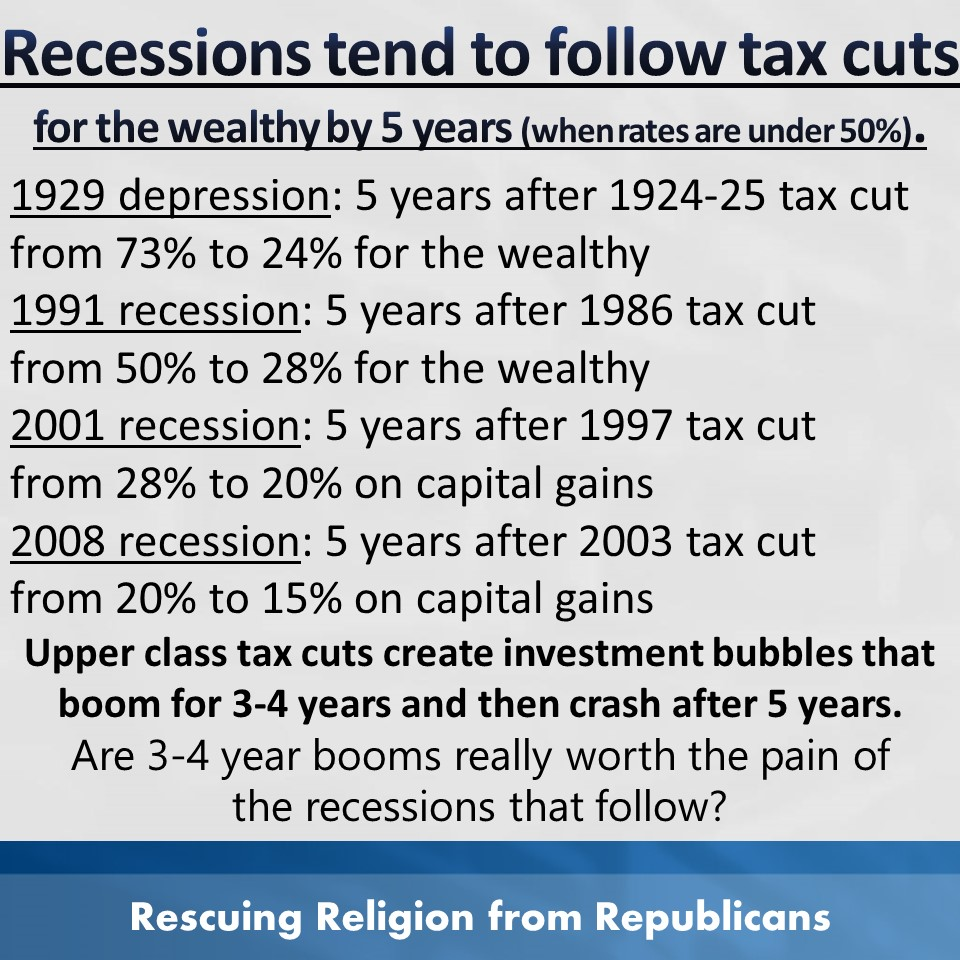 Taxes - recessions 5 years after cuts