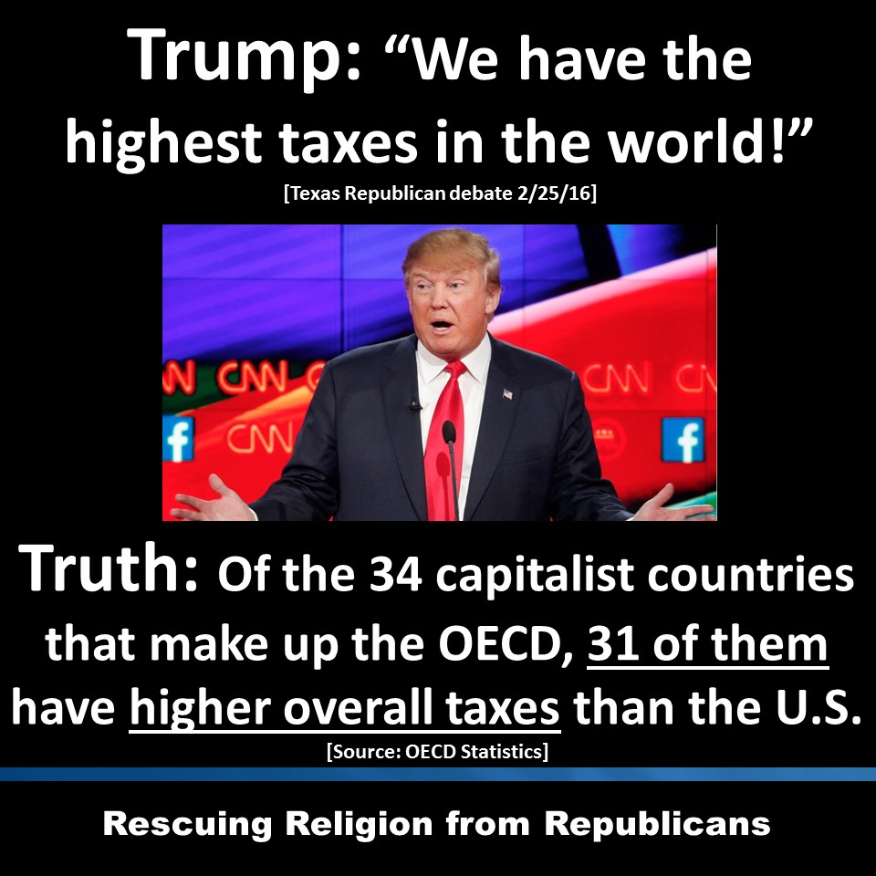 Trump (photo) - Truth - highest taxes in the world